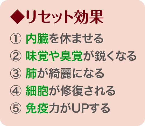 リセット効果 1)内蔵を休ませる 2)味覚や臭覚が鋭くなる 3)肺がきれいになる 4)細胞が修復される 5)免疫力がアップする